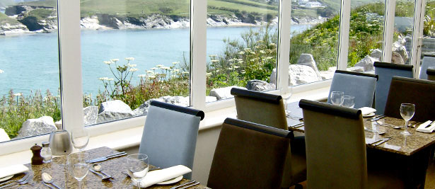 The Glendorgal Hotel in Cornwall's restaurant overlooks the headland and Porth Beach in Newquay